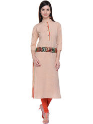 Lavennder Khaadi Plain Orange Long Straight Kurta - 623568