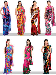 Set of 7 Stylish Designer Georgette Sarees