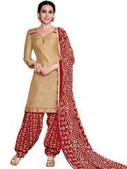 Adah Cotton Plain Dress Material -Beige -744-8011