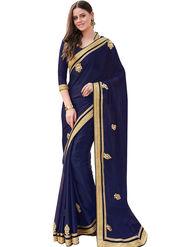 Styles Closet Embroidered Georgette Blue Saree -Bnd-80327