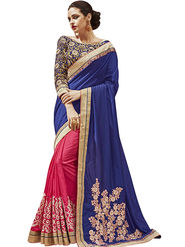 Styles Closet Embroidered Georgette Blue Saree -Bnd-80330