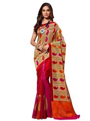 Shonaya Printed Pink & Red Bhagalpuri Art Silk Saree AD-SGCTS-3027