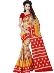 Shonaya Printed Bhagalpuri Art Silk Beige & Red Saree -Adbhp-523-B