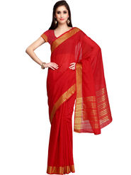 Red Chanderi Zari Border Saree with Blouse Piece_ADM-SR-SNH3-10064