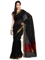 Black Chanderi Zari Work Saree with Blouse Piece_ADM-SR-SNH3-10067