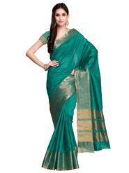 Teal Tussar Silk Zari Work Saree with Blouse Piece_ADM-SR-SNH3-10080