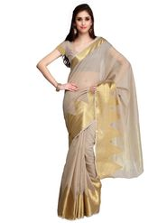 Beige Chanderi Zari Border Saree with Blouse Piece_ADM-SR-SNH3-10094