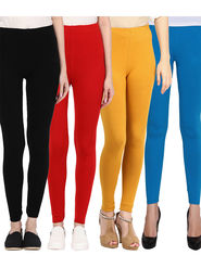 Pack Of 4 American-Elm Cotton Lycra Ankle Length Legging -ma60
