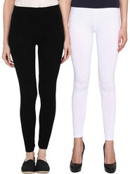 Pack Of 2 American-Elm Cotton Lycra Ankle Length Legging -ma25