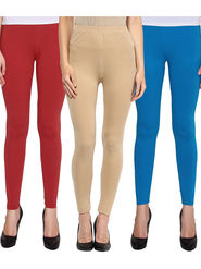 Pack Of 3 American-Elm Cotton Lycra Ankle Length Legging -ma57