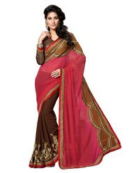 Khushali Fashion Embroidered Georgette Half & Half Saree(Brown,Pink)_ASFPVA317