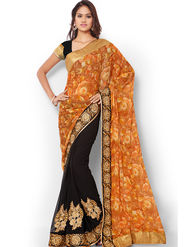Admyrin Embroidered Printed Georgette and Chiffon Saree -ab03