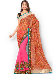 Admyrin Embroidered Printed Georgette and Chiffon Saree -ab04