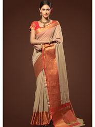 Admyrin Plain Chanderi Cotton Beige Saree-HKT-20001