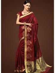 Admyrin Plain Chanderi Cotton Maroon Saree-HKT-20006