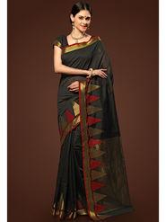 Admyrin Plain Chanderi Cotton Black Saree-HKT-20007