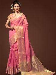 Admyrin Plain Chanderi Cotton Pink Saree-HKT-20011