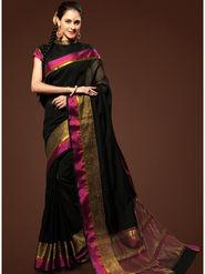 Admyrin Plain Chanderi Cotton Black Saree-HKT-20016