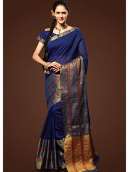 Admyrin Plain Chanderi Cotton Blue Saree-HKT-20018