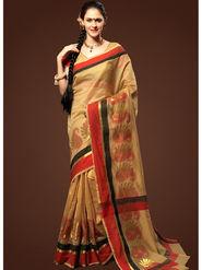 Admyrin Plain Chanderi Cotton Beige Saree-HKT-20021