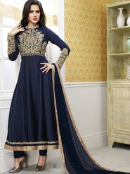 Adah Fashions Georgette Embroidered Semi Stitched Suit - Navy Blue - 100-224