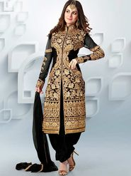 Adah Fashions Net Embroidered Semi Stitched Suit - Black - 623-4009