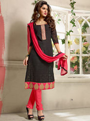 Adah Fashions Gerogette Jacquard Embroidered Semi Stitched Salwar Kameez - Black