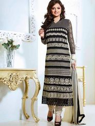 Adah Fashions Georgette Embroidered Semi Stitched Suit - Black - 645-60012