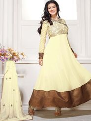 Adah Fashions Georgette Embroidered Anarkali Suit - Cream - 658-1007