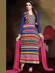 Adah Fashions Georgette Embroidered A-Line Salwar Suit - Multicolor - 661-203