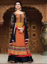 Adah Fashions Net Embroidered Anarkali Suit - Multicolor - 666-15007