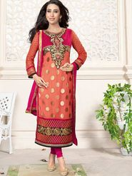 Adah Fashions Georgette Embroidered Semi Stitched Suit - Peach - 716-5109C