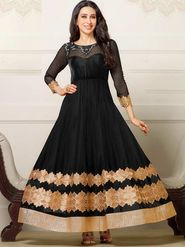 Adah Fashions Net Embroidered Semi Stitched Suit - Black - 741-50015