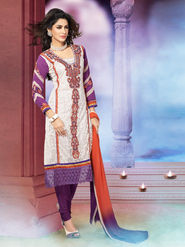 Adah Fashions Embroidered Georgette Semi-Stitched Pakistani Salwar Suit - Off-White & Purple