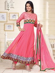 Adah Fashions Georgette Embroidered Semi Stitched Anarkali Dress Material - Pink_626-1002