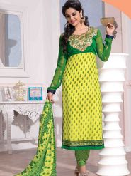 Adah Fashions Faux Georgette Embroidered Semi Stitched A-Line Dress Material - Yellow and Green_627-2012