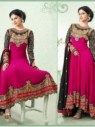 Adah Fashions Georgette Semi Stiched Salwar Kameez - Pink and Black