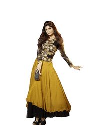 Adah Fashions Georgette Semi Stiched Salwar Kameez - Yellow - 501-6014