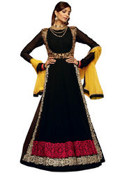 Adah Fashions Faux Georgette Embroidered Semi Stitched Designer Suit - Black