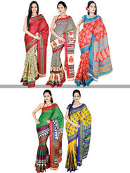 Amolika Classic Set of 5 Tussar Art Silk Sarees (5B1)