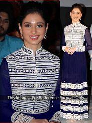 Arisha Georgette Embroidered Semi-Stitched Anarkali Suit - Blue - 1041