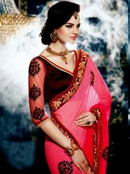 Arisha Georgette Embroidered Saree - Pink And Brown