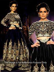 Arisha Georgette Embroidered Semi-Stitched Lehenga - Black