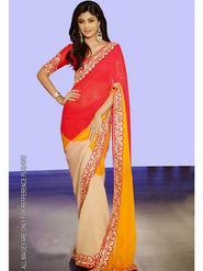 Arisha Georgette Embroidered Saree - Multicolour - 5328