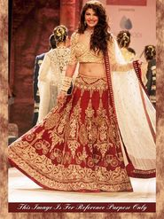 Arisha Silk Embroidered Semi-Stitched Lehenga - Maroon and Beige