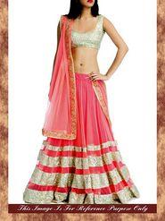 Arisha Net Embroidered Saree - Pink And Beige