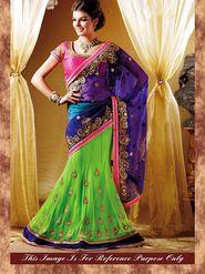 Arisha Net Embroidered Saree - Green And Purple