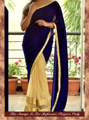 Arisha Net Embroidered Saree - Beige And Purple