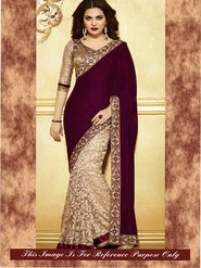 Arisha Velvet Embroidered Saree - Maroon And Beige