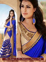 Arisha Georgette Embroidered Saree - Blue And Beige